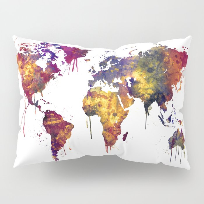 Watercolor Map of the World Map Pillow Sham by artpause | Society6