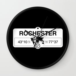 Rochester New York Map GPS Coordinates Artwork with Compass Wall Clock