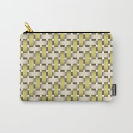 Golden Woven Basket-Look Carry-All Pouch