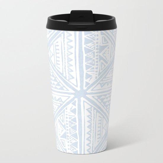 Simply Tribal Tile in Sky Blue on Lunar Gray Metal Travel Mug