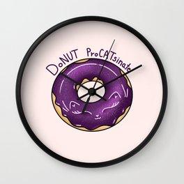 Donut ProCATsinate - Galaxy Cat Donut - Kawaii Kitty Wall Clock