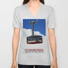 Chamonix Ski Resort , Aiguile du Midi Cable Car Unisex V-Neck