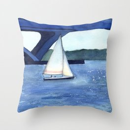 """""""Off to a journey"""" Sailboat Watercolor Painting Throw Pillow"""