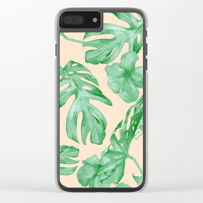 Tropical Coral Green Leaves Flower Pattern Clear iPhone Case