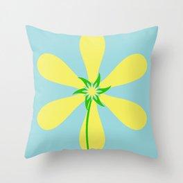 Flower Power - Blue Throw Pillow