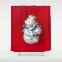 snowman Shower Curtains featuring Snowman  by Svetlana Korneliuk