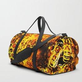bees fill honeycombs in hive splatter watercolor Duffle Bag