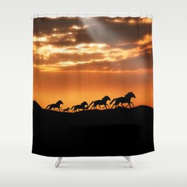 Horses in sunset Shower Curtain