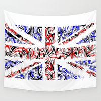 union jack Wall Tapestries featuring Union Jack by David T Eagles