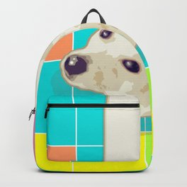 White Puppy on Geometric Floor Backpack