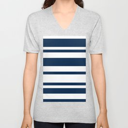 Mixed Horizontal Stripes - White and Oxford Blue Unisex V-Neck