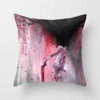 sakura Throw Pillows featuring Sakura by Iris Compiet