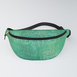 School blackboard green pattern with math equations Fanny Pack