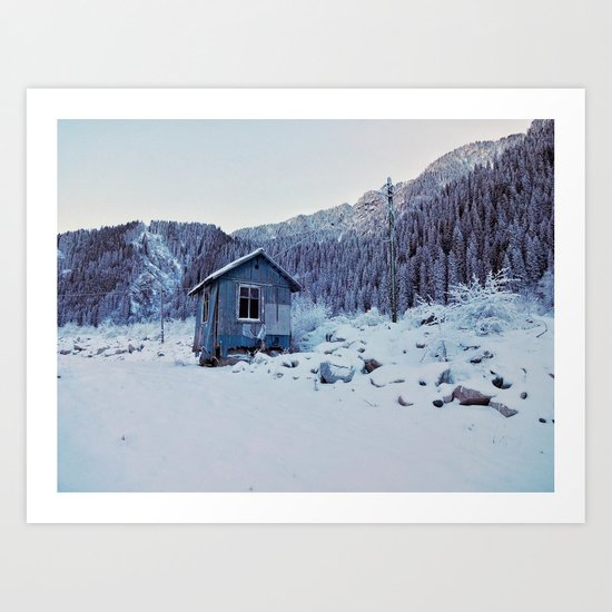 Small house in mountains Art Print