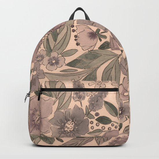 Watercolor . Flowers retro . Backpack