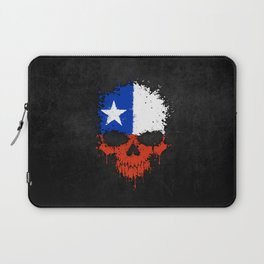 Flag of Chile on a Chaotic Splatter Skull Laptop Sleeve