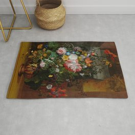 Rachel Ruysch Roses Convolvulus Poppies Other Flowers in Urn Rug