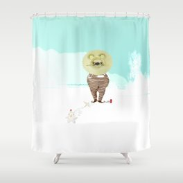 Time Rabbit and Lion Shower Curtain