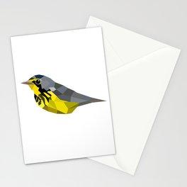 Bird art canada warbler Yellow gray Stationery Cards
