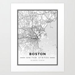 Boston Modern Map Art Print