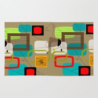 mid century modern Area & Throw Rugs featuring Mid-Century Modern Inspired Abstract by Kippygirl