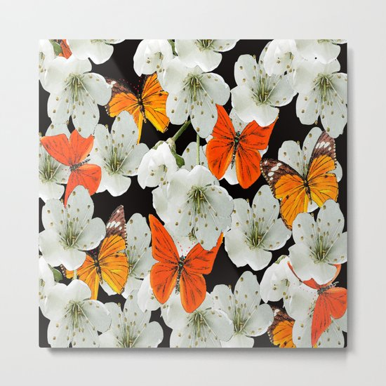 Cherry flowers and colorful butterflies on a black background Metal Print