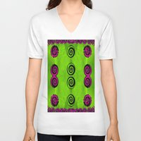 decorative V-neck T-shirts featuring Decorative dots by Pepita Selles