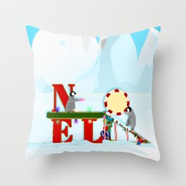 Penquin Chicks: Noel Preparation Throw Pillow