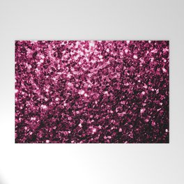 Beautiful Dark Pink glitter sparkles Welcome Mat