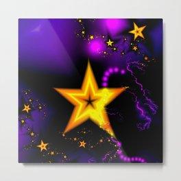 Golden stars on a purple Metal Print