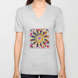 Colorful Quilted sun pattern Abstract Unisex V-Neck