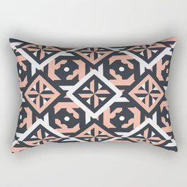 Nuts and Bolts // Spanish floor tile pattern in coral black and white Rectangular Pillow