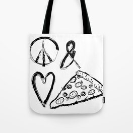 Peace Love and Pizza Tote Bag