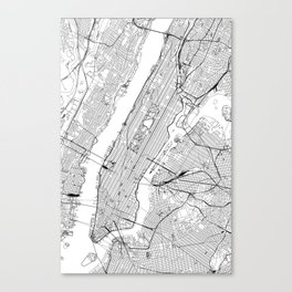 New York City White Map Canvas Print