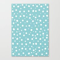 polkadot Canvas Prints featuring White Polkadot by Laura Maria Designs