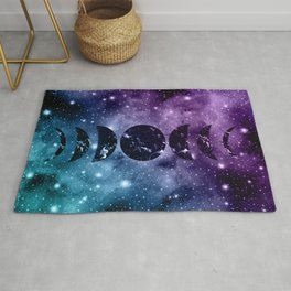 Purple Teal Galaxy Nebula Dream Moon Phases #1 #decor #art #society6 Rug