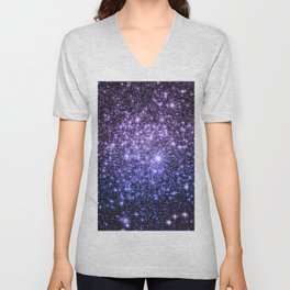 Galaxy Sparkle Stars Purple Periwinkle Blue Unisex V-Neck