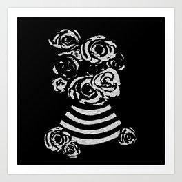 Crinkled Roses in Black & White Striped Vase Art Print