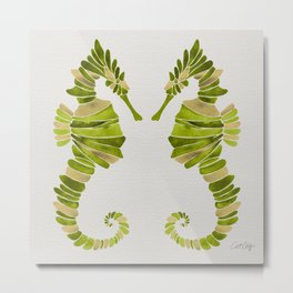 Seahorse – Lime & Gold Metal Print