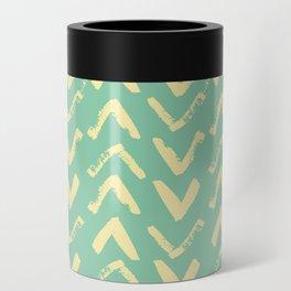 Modern Brush Stroke Chevrons - Green & Yellow Can Cooler