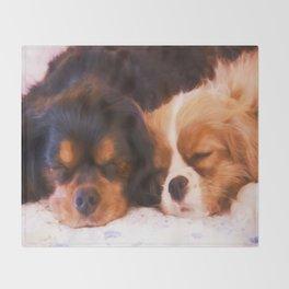 Sleeping Buddies Cavalier King Charles Spaniels Throw Blanket