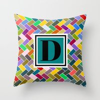 monogram Throw Pillows featuring D Monogram by mailboxdisco
