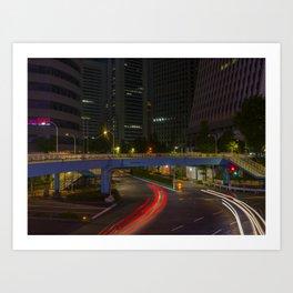 Tokyo Skyscrapers at Night. Art Print