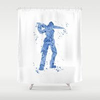 final fantasy Shower Curtains featuring Squall Leonhart Final Fantasy by Carma Zoe