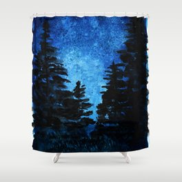 Blue Sky - Evergreen Trees Shower Curtain