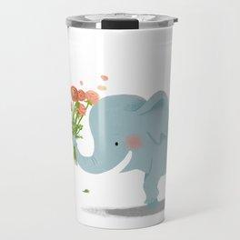 baby elephant with flowers Travel Mug