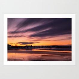Sunset in Heidmork lake, Iceland Art Print