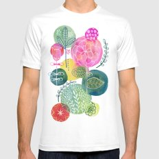 Blooming Circles MEDIUM White Mens Fitted Tee