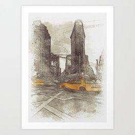 NYC Yellow Cabs Flat Iron Building - SKETCH Art Print