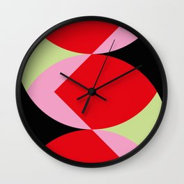 Snake Shaped Window in a black wall. Red and pink acorns in the background, on a soft green grass. Wall Clock